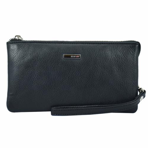 Кожаный кошелек на молнии черный KARYA 1075/101 Турция