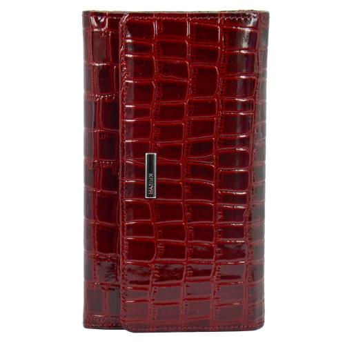 Жіночий гаманець шкіряний глянцевий бордовий кроко KARYA 1088/315 Турція