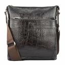Чоловіча сумка шкіряна через плече шокладного кольору крокодил Karya 0677/204 Турція