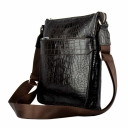 Чоловіча сумка шкіряна через плече шоколадного кольору крокодил Karya 0677/204 Туреччина