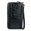 Клатч мужской кожаный черный крокодил Karya 0705/104 Турция