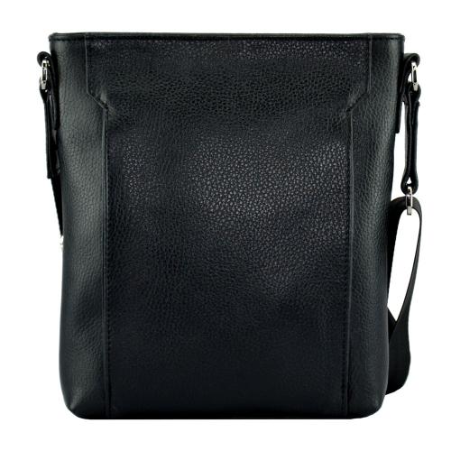 Кожаная мужская сумка через плечо черная 2011/101 Украина