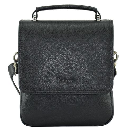 Кожаная мужская сумка через плечо черная Karya 0795/101 Турция