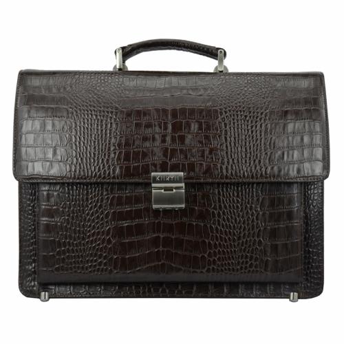 Кожаный портфель мужской Karya коричневый шоколад крокодил 0145/204 Турция