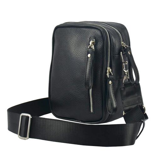 Мужская кожаная сумка через плечо черная 0306/101 Украина