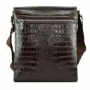 Мужская кожаная сумка крокодил шоколад Karya 0724/204 Турция