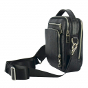 Мужская сумка через плечо кожаная черная 0315/101 Украина