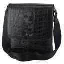 Мужская сумка кожаная через плечо черная крокодил Karya 0724/104 Турция