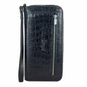 Мужской клатч из натуральной кожи черный крокодил Karya 0670/104 Турция