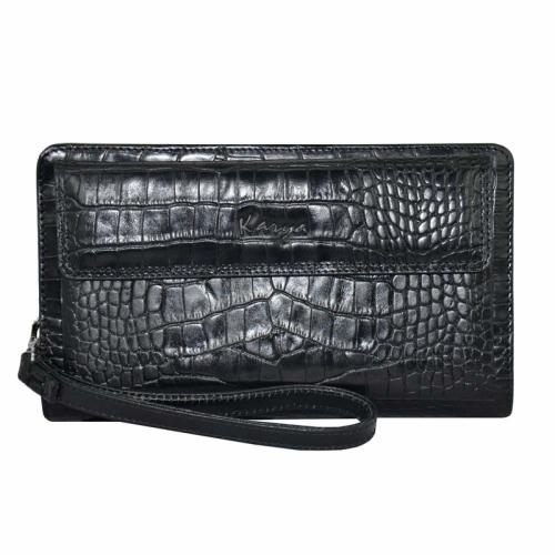 Мужской кожаный клатч черный крокодил Karya 0796/104 Турция