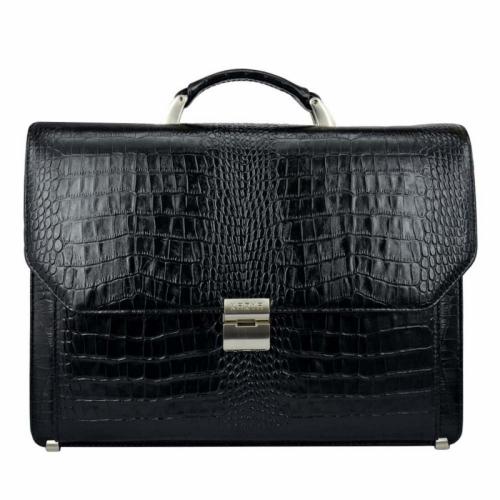Мужской портфель кожаный черный крокодил Karya 0229/104 Турция