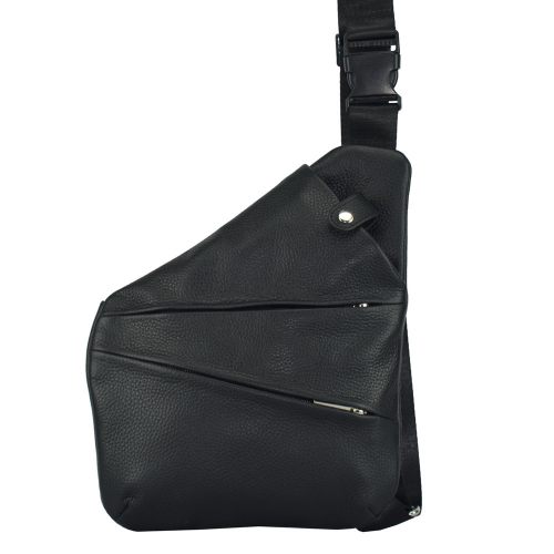 Слинг сумка кожаная черная 1999/101 Украина