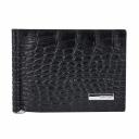 Портмоне с зажимом для купюр кожаное черное крокодил KARYA 0902/104 Турция