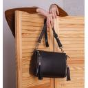 Женская сумка кожаная черная с кисточками 2144/101 Украина