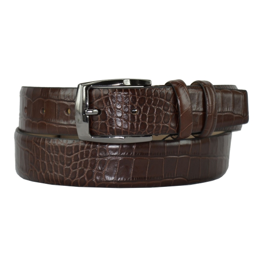 Кожаный мужской ремень коричневый 415/204 Турция