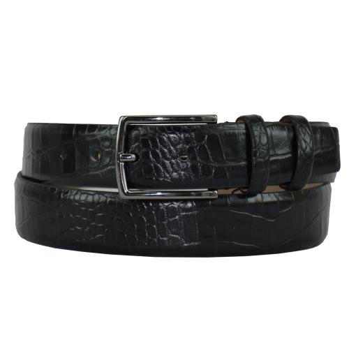 Ремень кожаный мужской черный крокодил 416/104 Турция