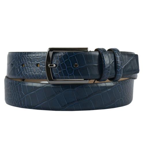 Ремень кожаный мужской синий 405/404 Турция