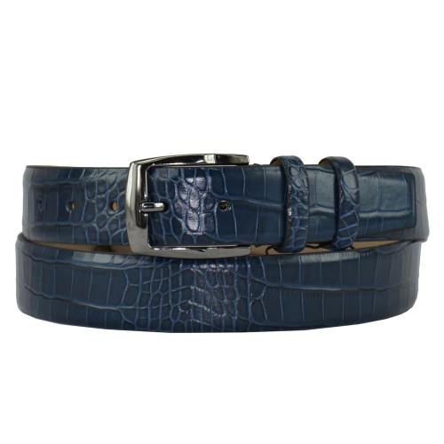 Ремень мужской кожаный синий 409/404 Турция