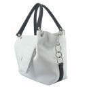 Белая сумка кожаная женская с черными ручками 672Б/011-101 Украина