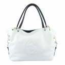 Белая сумка женская кожаная с черными ручками 672БP/011-101 Украина