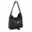 Черная кожаная сумка женская кисточка 963/101 Украина