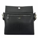 Черная сумка через плечо женская кожаная ручка и ремень Karya 0754/101 Турция