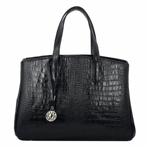 Черная женская сумка кожаная крокодил 1994/104 Украина