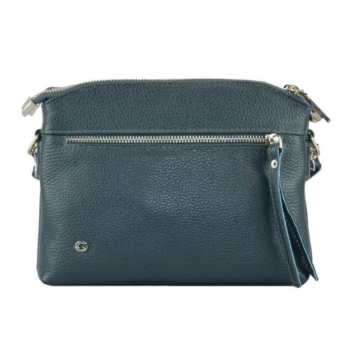 Кожаная женская сумка через плечо синяя 2563/401 Украина