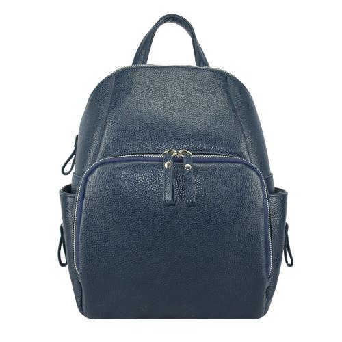 Кожаный женский рюкзак синий 2664/401 Украина