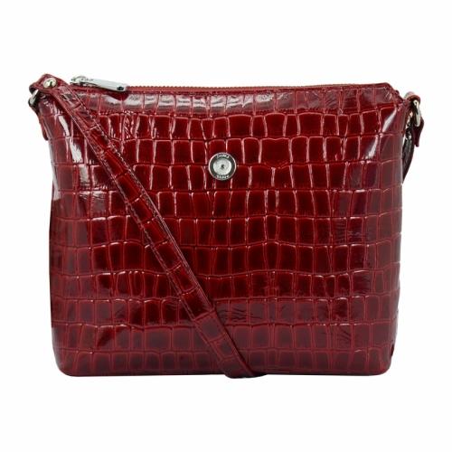 Маленькая сумка через плечо женская кожаная бордо крокодил Karya 0718/315 Турция