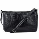Маленькая сумка кожаная черная под крокодила 1929/104 Украина