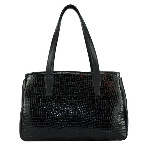 Модна сумка з натуральної шкіри жіноча чорна 2596/102-106 Україна