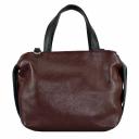 Шкіряна сумка жіноча бордо з чорним 2160/311-101 Україна