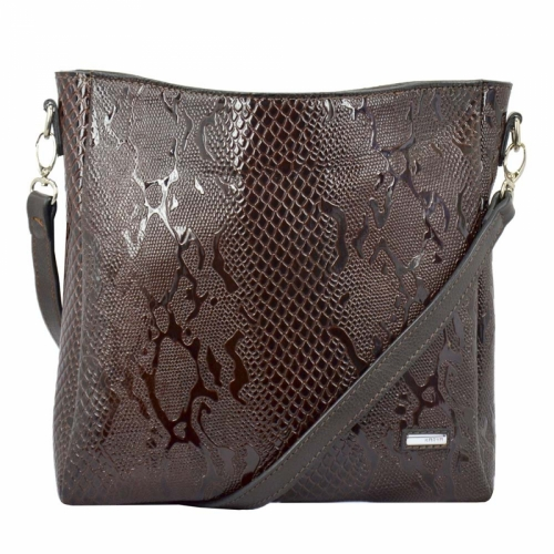 Сумка женская коричневая кожаная питон KARYA 5040/209 Турция