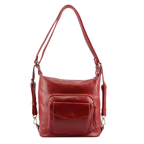 Сумка женская красная кожаная рюкзак 2576/301 Украина