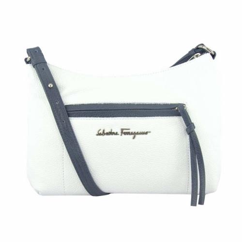 Женская белая сумка кожаная синяя ручка 1571/011-401 Украина