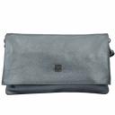 Женская сумка клатч кожаная цвета серый металлик 2007/121 Украина