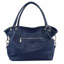 Женская сумка синяя кожаная длинные ручки 672БP/401 Украина
